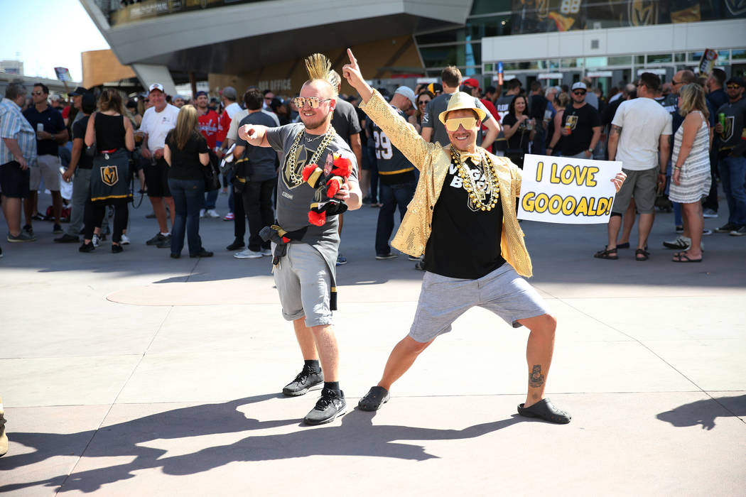 Landon Heins, left, and Gabriel Cressy before Game 1 of the NHL hockey Stanley Cup Finals at T-Mobile Arena in Las Vegas, Wednesday, May 30, 2018. Erik Verduzco Las Vegas Review-Journal @Erik_Verduzco