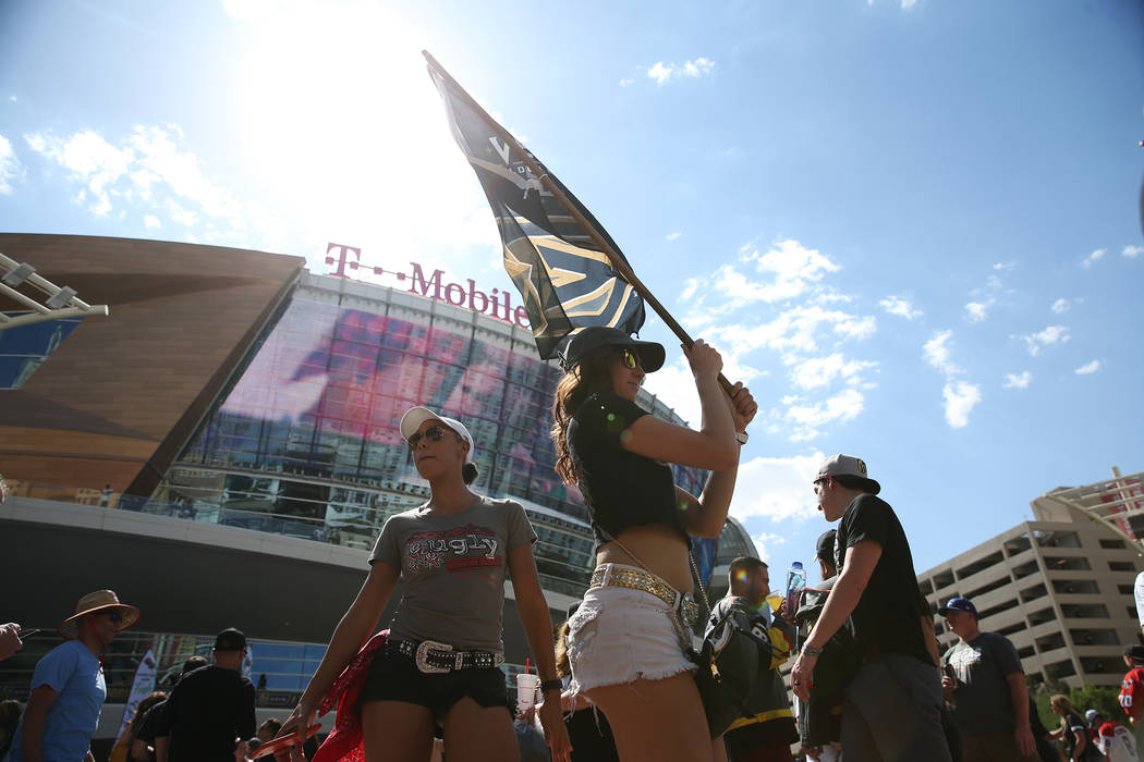 Jacquelyne Hutchins, left, and Brittany Dunn before Game 1 of the NHL hockey Stanley Cup Finals at T-Mobile Arena in Las Vegas, Wednesday, May 30, 2018. Erik Verduzco Las Vegas Review-Journal @Eri ...