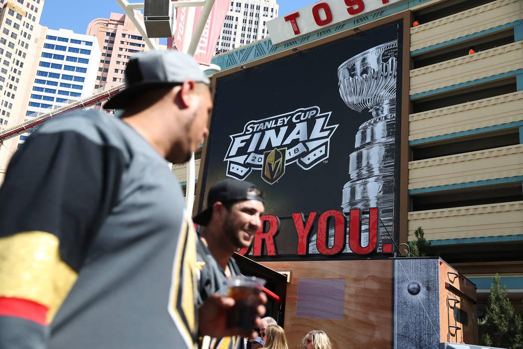 A Stanley Cup Finals billboard at Toshiba Plaza before Game 1 at T-Mobile Arena in Las Vegas, Wednesday, May 30, 2018. Erik Verduzco Las Vegas Review-Journal @Erik_Verduzco