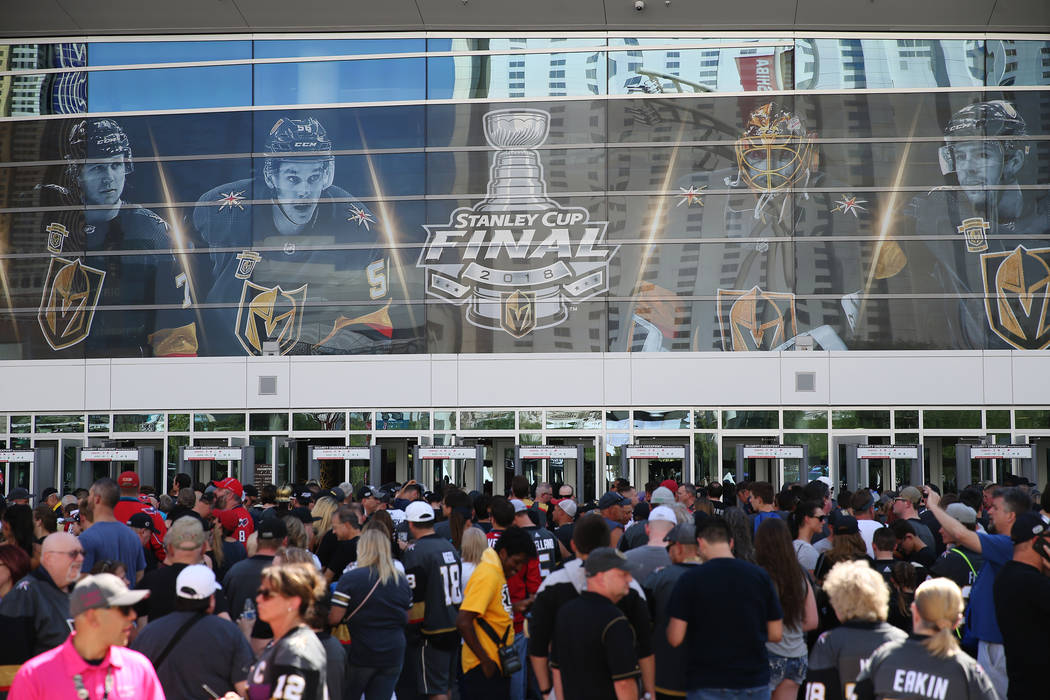 Fans wait to enter T-Mobile Arena before Game 1 of the NHL hockey Stanley Cup Finals in Las Vegas, Wednesday, May 30, 2018. Erik Verduzco Las Vegas Review-Journal @Erik_Verduzco