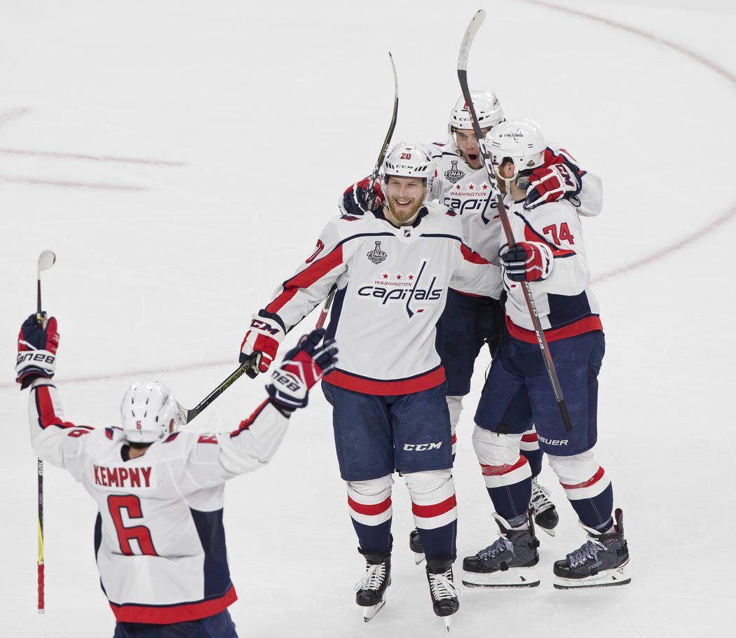 The Capitals celebrates after center Lars Eller (20) scored a first-period goal during Game 2 of the NHL Stanley Cup Final against the Golden Knights on Wednesday, May 30, 2018, at T-Mobile Arena ...