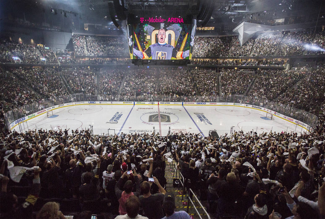 T-Mobile Arena is packed for Game 2 of the NHL Stanley Cup Final between the Golden Knights and Washington Capitals on Wednesday, May 30, 2018, in Las Vegas. Benjamin Hager Las Vegas Review-Journa ...