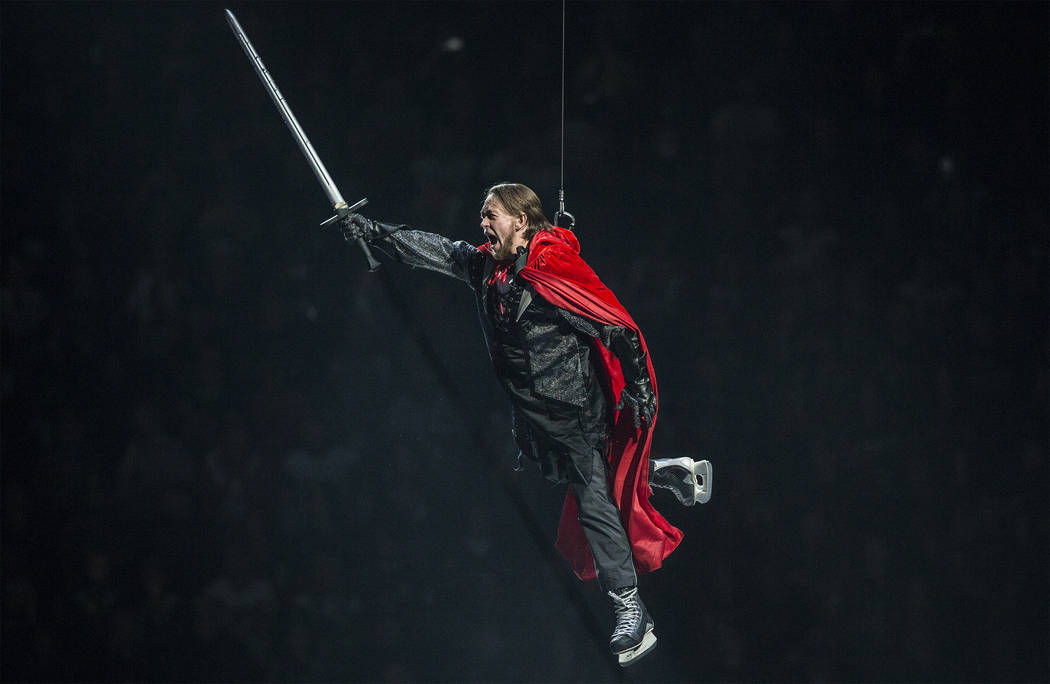 The Capitals villain is lowered onto the ice before the start of Game 2 of the NHL Stanley Cup Final between the Golden Knights and Washington Capitals on Wednesday, May 30, 2018, at T-Mobile Aren ...