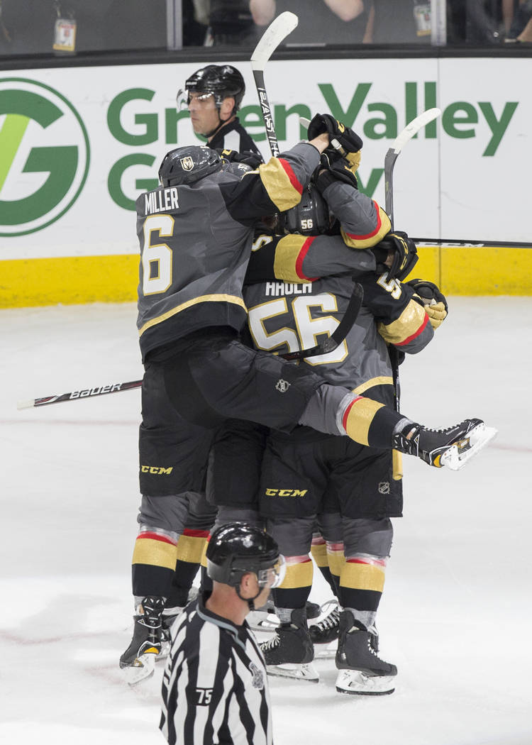 Golden Knights celebrates after left wing James Neal (18) scored a first-period goal against the Washington Capitals during Game 2 of the NHL Stanley Cup Final on Wednesday, May 30, 2018, at T-Mob ...