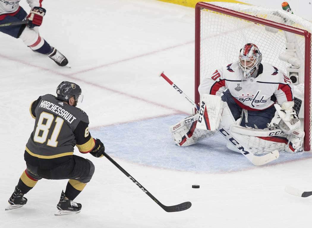 Golden Knights center Jonathan Marchessault (81) shoots on Capitals goaltender Braden Holtby (70) in the first period during Game 2 of the NHL Stanley Cup Final on Wednesday, May 30, 2018, at T-M ...