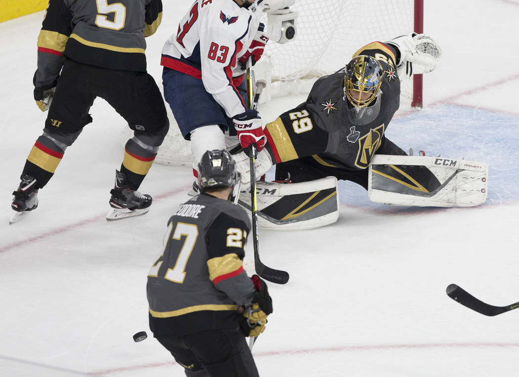 Golden Knights goaltender Marc-Andre Fleury (29) makes a save in the first period during Game 2 of the NHL Stanley Cup Final with the Washington Capitals on Wednesday, May 30, 2018, at T-Mobile Ar ...