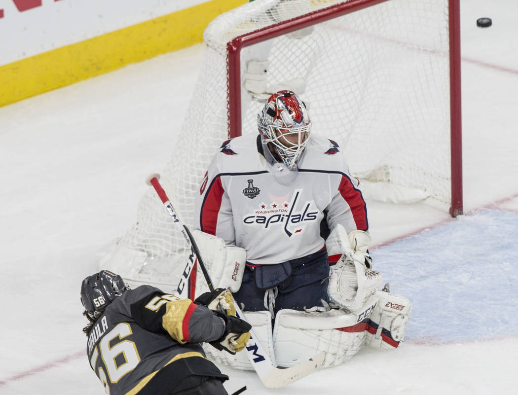 Golden Knights left wing Erik Haula (56) shoots on Capitals goaltender Braden Holtby (70) in the second period during Game 2 of the NHL Stanley Cup Final on Wednesday, May 30, 2018, at T-Mobile Ar ...
