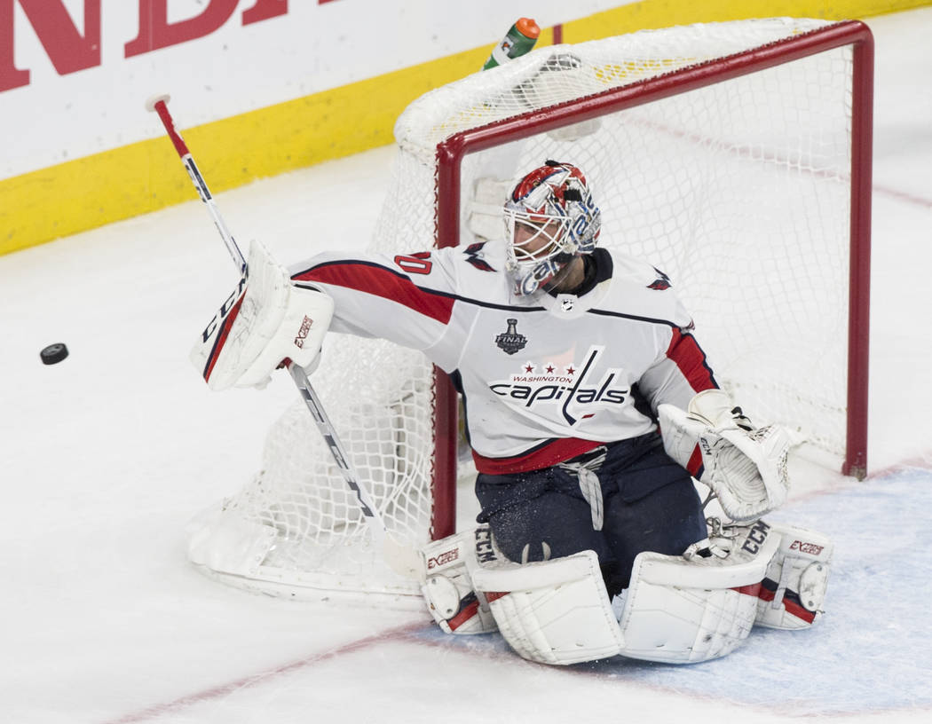 Capitals goaltender Braden Holtby (70) makes a second-period save during Game 2 of the NHL Stanley Cup Final against the Golden Knights on Wednesday, May 30, 2018, at T-Mobile Arena, in Las Vegas. ...