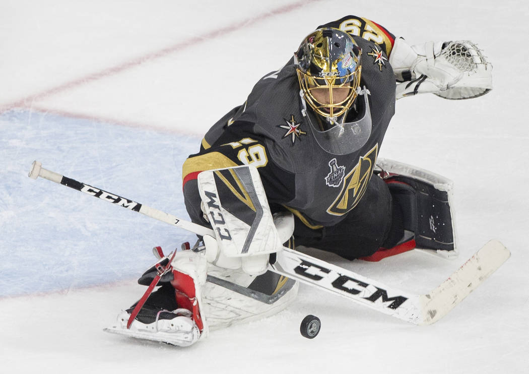 Golden Knights goaltender Marc-Andre Fleury (29) makes a save in the third period during Game 2 of the NHL Stanley Cup Final with the Washington Capitals on Wednesday, May 30, 2018, at T-Mobile Ar ...