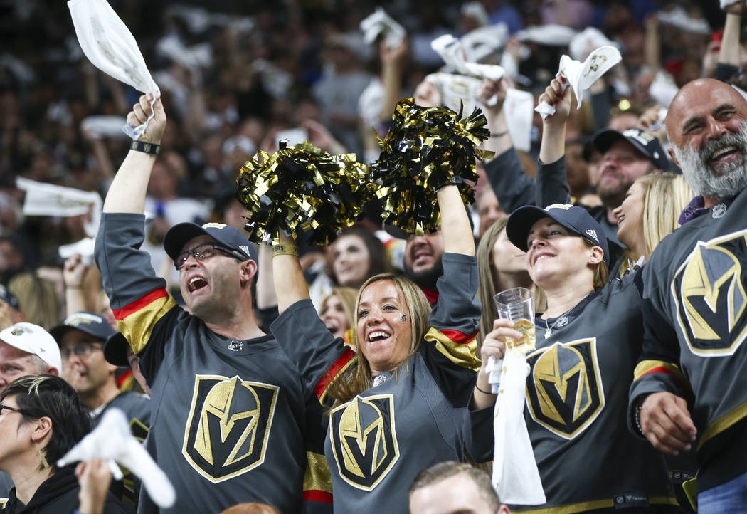 Golden Knights fans celebrate at the start of Game 2 of the NHL hockey Stanley Cup Final against the Washington Capitals at the T-Mobile Arena in Las Vegas on Wednesday, May 30, 2018. Chase Steven ...