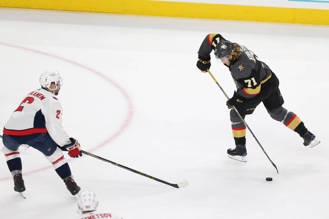 Washington Capitals defenseman Matt Niskanen (2) defends against Vegas Golden Knights center William Karlsson (71) during the first period in Game 2 of the NHL hockey Stanley Cup Final at T-Mobile ...