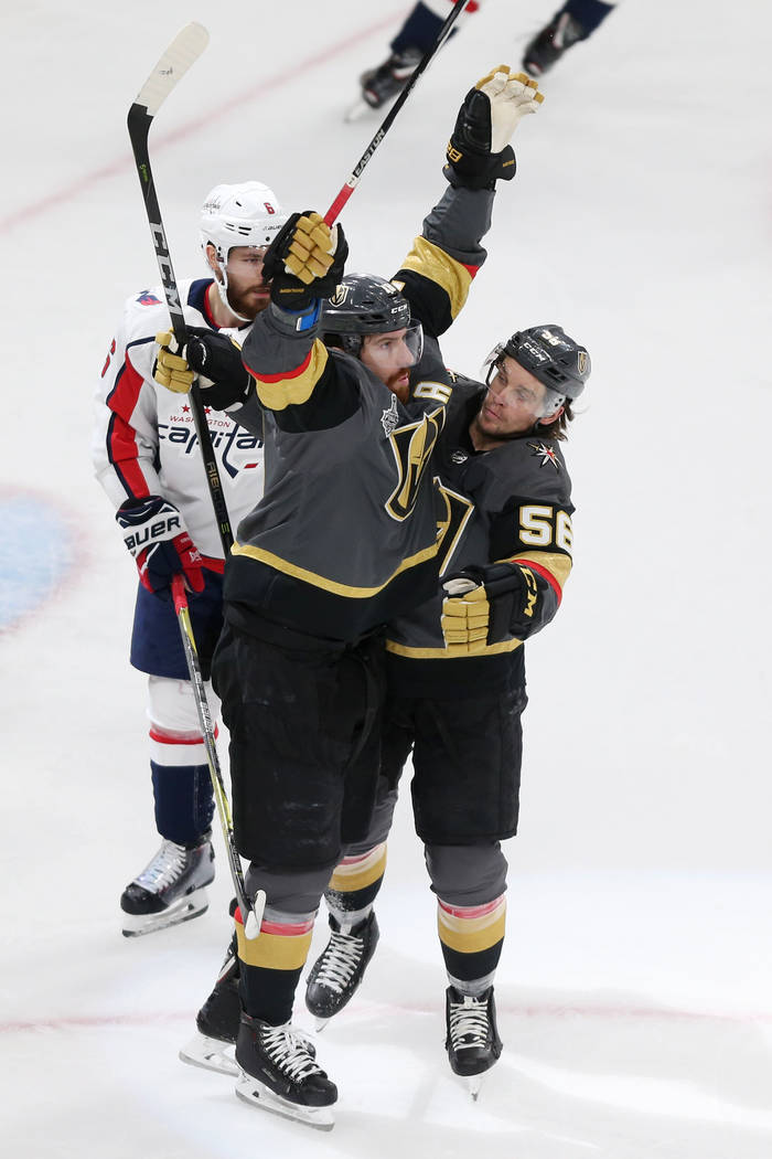 Vegas Golden Knights left wing James Neal (18) celebrates his score against Washington Capitals with Vegas Golden Knights left wing Erik Haula (56) during the first period in Game 2 of the NHL hoc ...