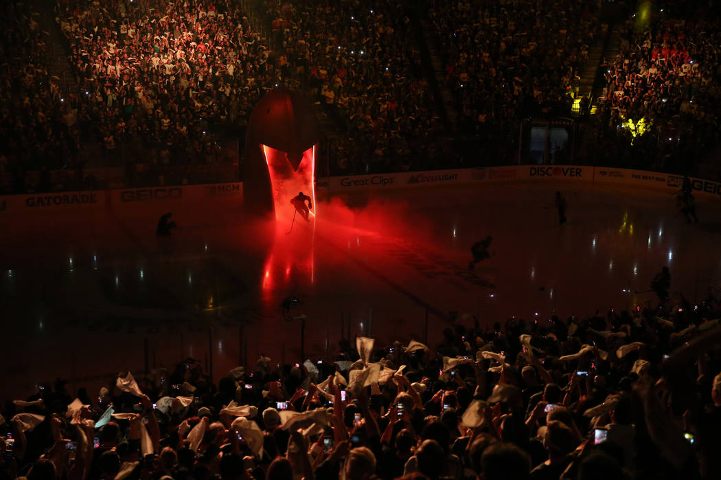 Vegas Golden Knights take the ice for Game 2 of the NHL hockey Stanley Cup Final against Washington Capitals at T-Mobile Arena in Las Vegas, Wednesday, May 30, 2018. Erik Verduzco Las Vegas Review ...