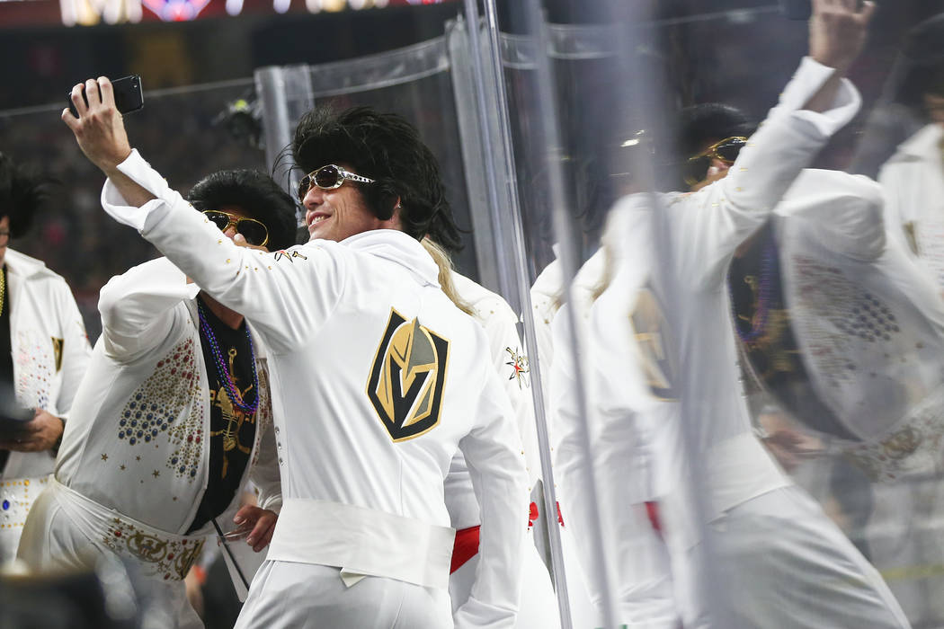 Golden Knights fans take a selfie before the start of Game 2 of the NHL hockey Stanley Cup Final at the T-Mobile Arena in Las Vegas on Wednesday, May 30, 2018. Chase Stevens Las Vegas Review-Journ ...