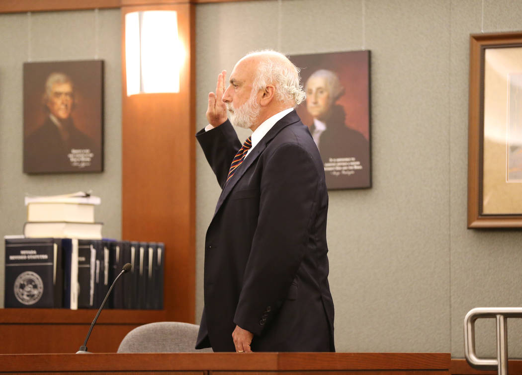 Adolescence expert Laurence Steinberg prepares to testify at the Regional Justice Center on Thursday, May 31, 2018, during a hearing for Jeremy Strohmeyer, who sexually assaulted and killed 7-year ...