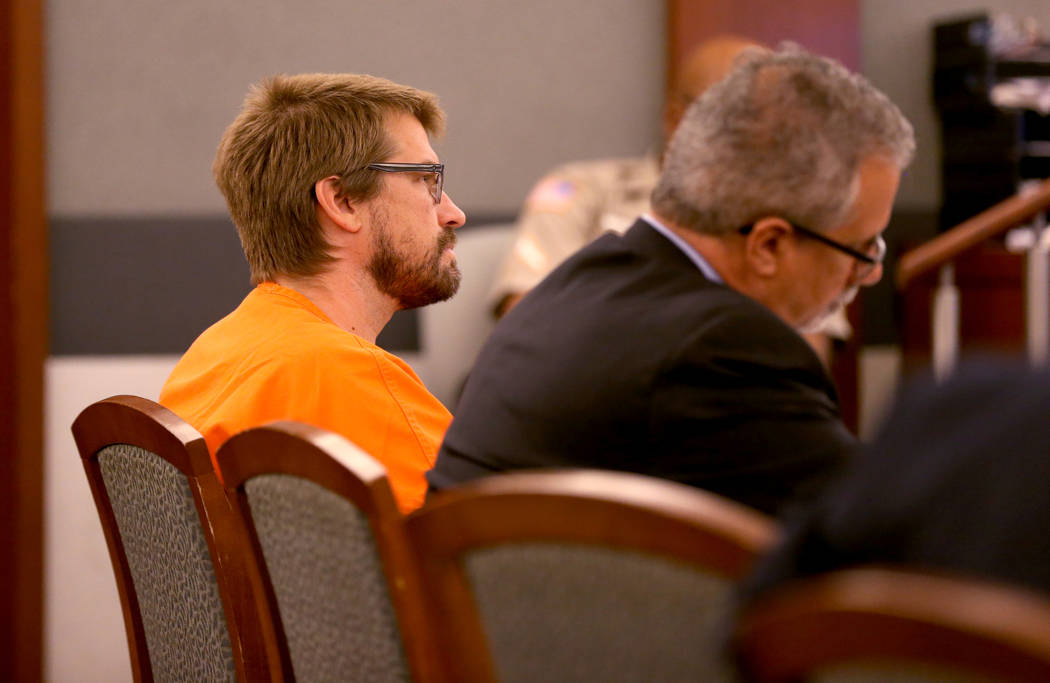 Jeremy Strohmeyer, who sexually assaulted and killed 7-year-old Sherrice Iverson in a Primm casino restroom 21 years ago, listens to testimony during a hearing at the Regional Justice Center on Th ...
