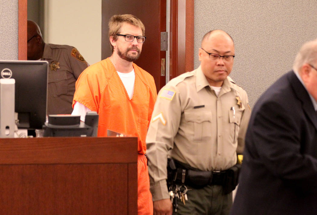 Jeremy Strohmeyer, who sexually assaulted and killed 7-year-old Sherrice Iverson in a Primm casino restroom 21 years ago, enters the courtroom for a hearing at the Regional Justice Center on Thurs ...