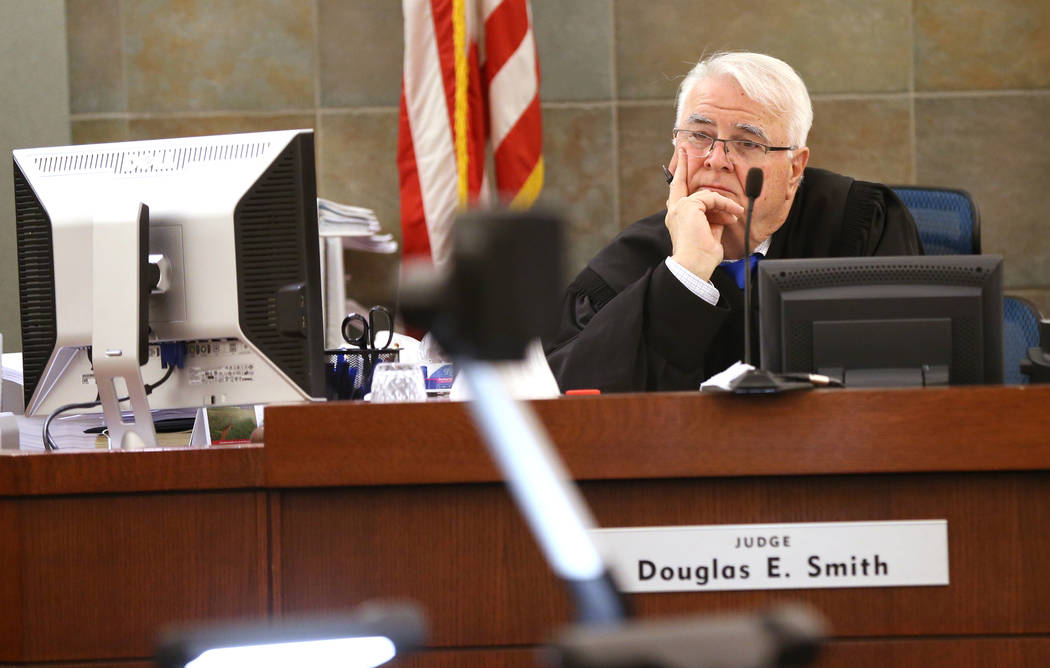 District Judge Doug Smith presides over a hearing at the Regional Justice Center on Thursday, May 31, 2018, for Jeremy Strohmeyer, who sexually assaulted and killed 7-year-old Sherrice Iverson in ...