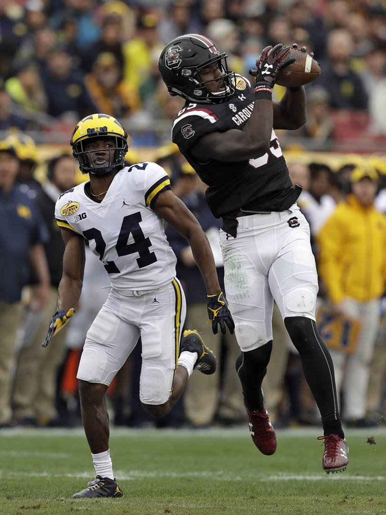 South Carolina wide receiver Bryan Edwards (89) pulls in a pass in front of Michigan defensive back Lavert Hill (24) during the first half of the Outback Bowl NCAA college football game Monday, Ja ...