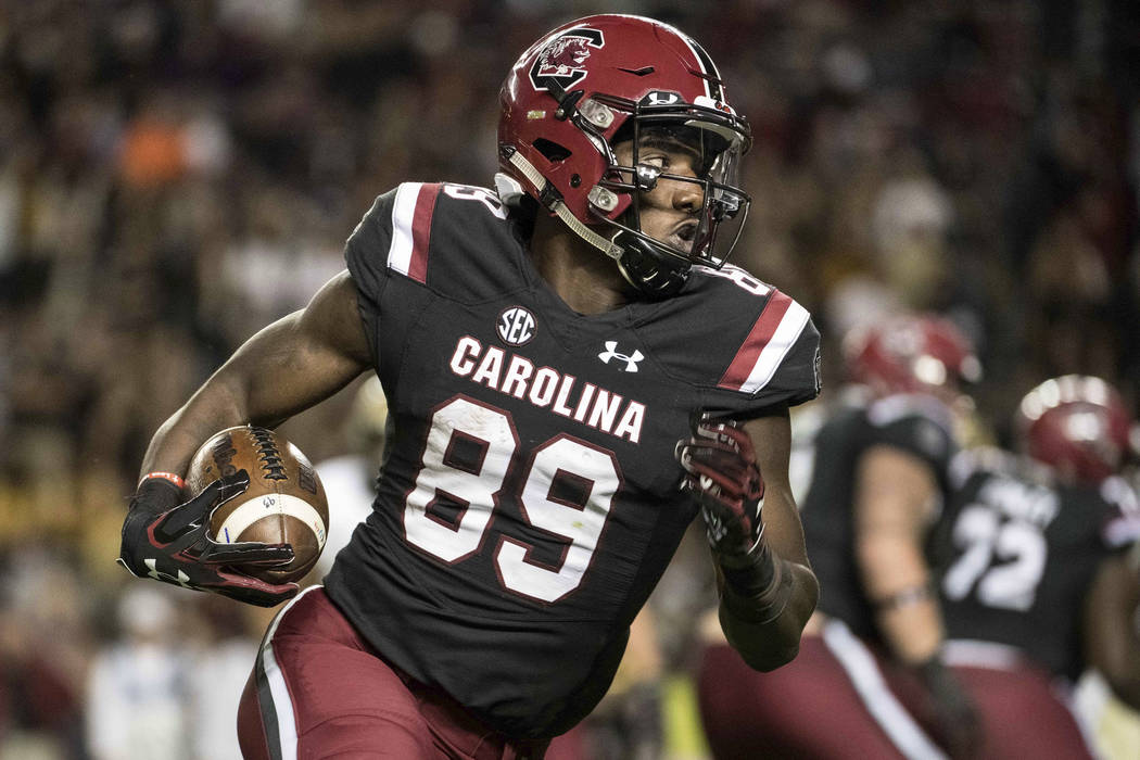 South Carolina wide receiver Bryan Edwards (89) runs with the ball during the second half of an NCAA college football game against Wofford on Saturday, Nov. 18, 2017 in Columbia, S.C. South Caroli ...