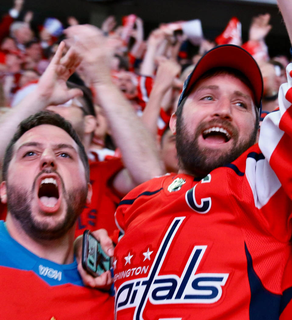 Capitals fans during a Stanley Cup game viewing party at Capital One Arena on May 30, 2018 in Washington, D.C. (Ben Sumner/The Washington Post)