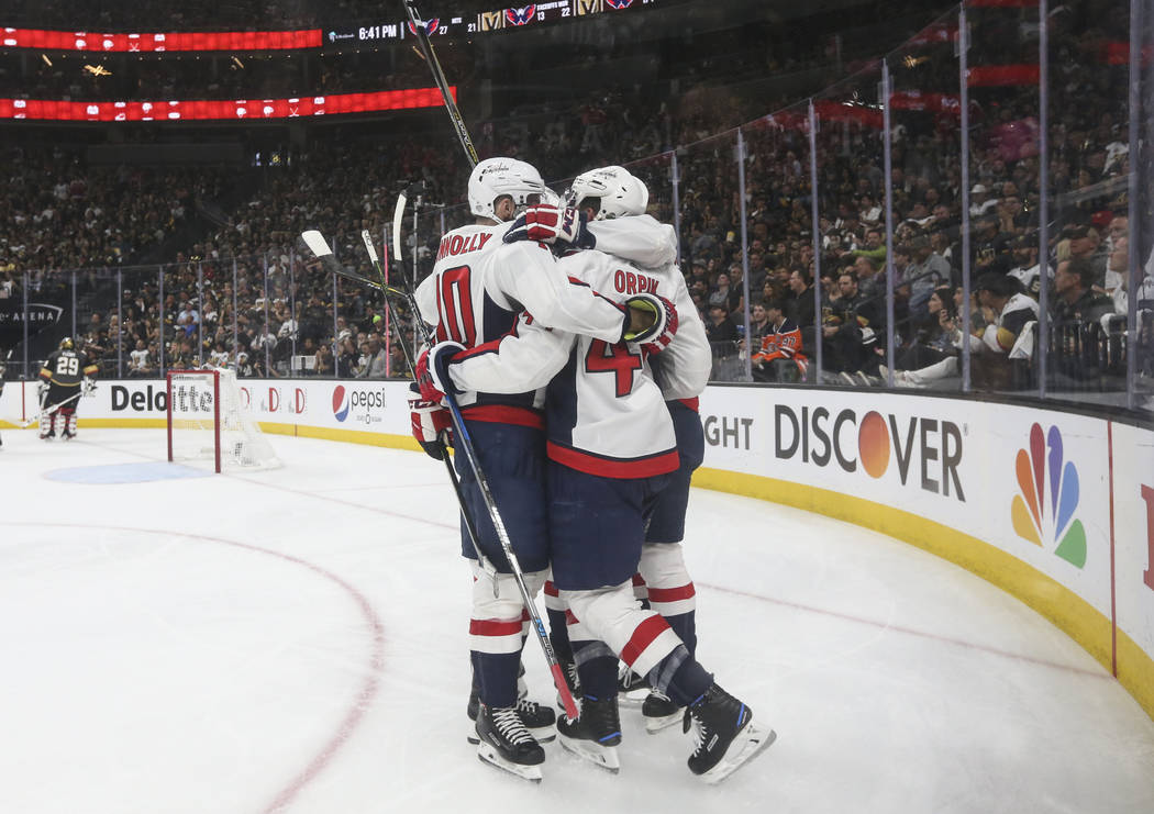 Washington Capitals players celebrate a goal against the Golden Knights during the second period of Game 2 of the NHL hockey Stanley Cup Final at the T-Mobile Arena in Las Vegas on Wednesday, May ...