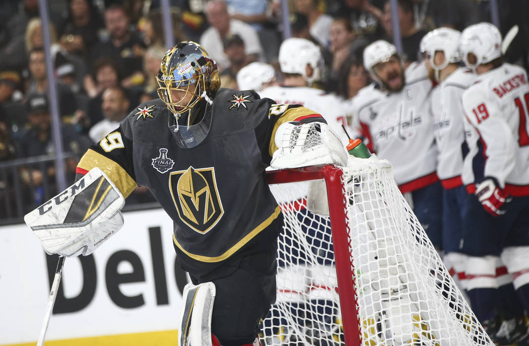 Golden Knights goaltender Marc-Andre Fleury (29) reacts after getting scored on by the Washington Capitals during the second period of Game 2 of the NHL hockey Stanley Cup Final at the T-Mobile Ar ...