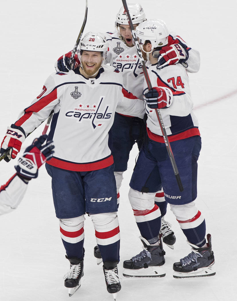 The Capitals celebrates after center Lars Eller (20) scored a first-period goal during Game 2 of the NHL Stanley Cup Final against the Golden Knights on Wednesday, May 30, 2018, at T-Mobile Arena, ...