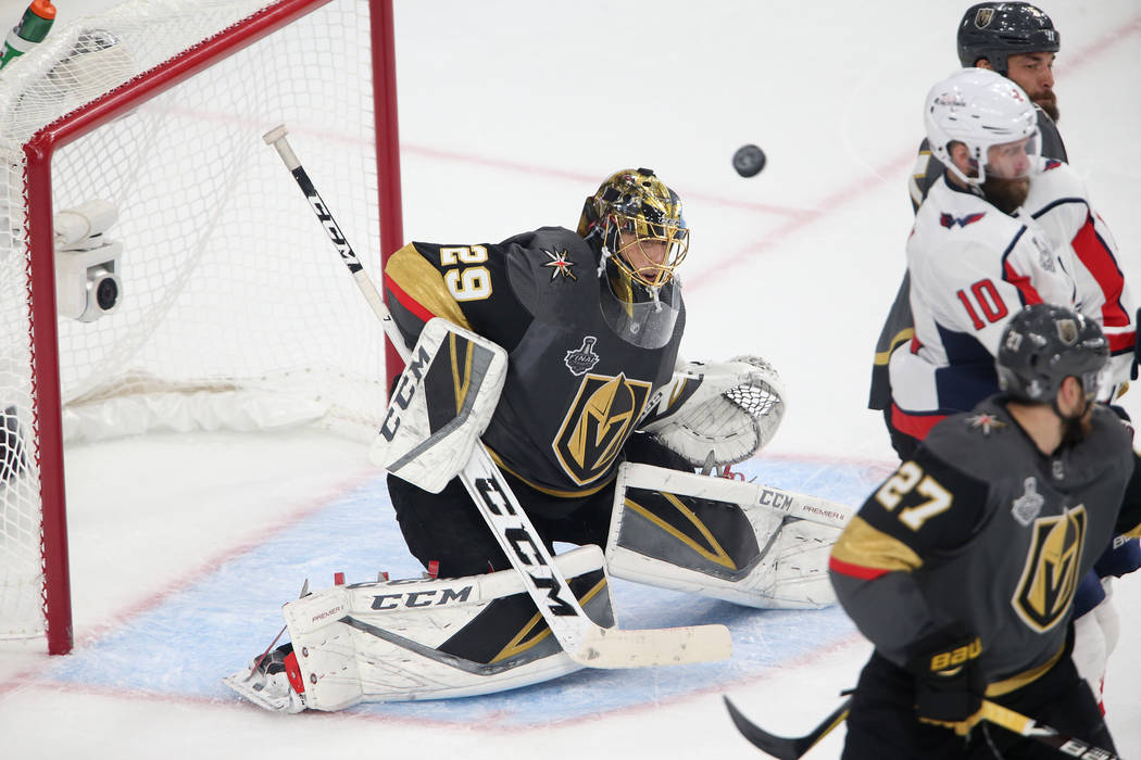 Vegas Golden Knights goaltender Marc-Andre Fleury (29) defends a shot against Washington Capitals during the second period in Game 2 of the NHL hockey Stanley Cup Final at T-Mobile Arena in Las Ve ...