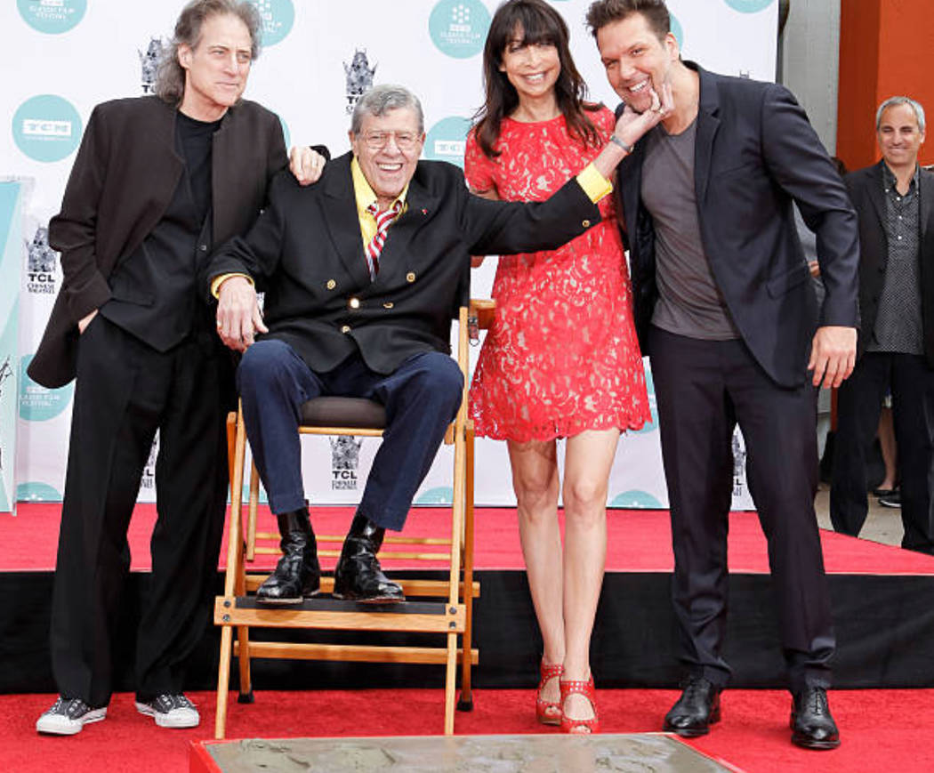 Richard Lewis, Jerry Lewis, Illeana Douglas and Dane Cook are shown during Jerry Lewis's hand-and-footprint ceremony the TCL Chinese Theater on April 12, 2014. (Danielle Lewis)