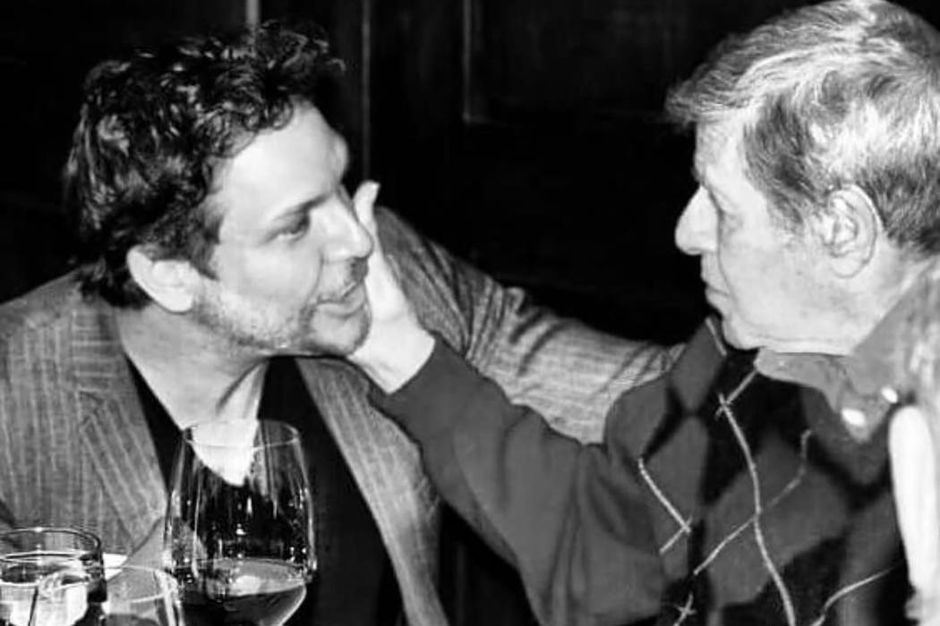Dane Cook and Jerry Lewis are shown at Lewis's 90th birthday party on March 16, 2016 at Piero's Italian Restaurant in Las Vegas. (Danielle Lewis)