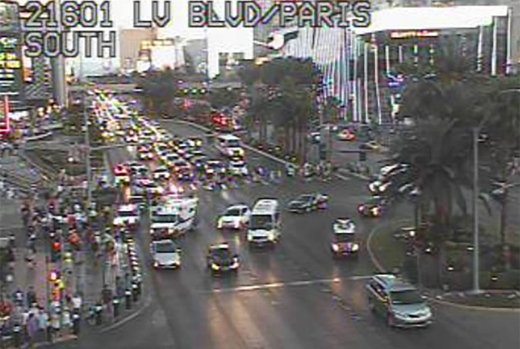 The scene of a rollover crash outside Planet Hollywood Resort on the Strip (RTC camera)