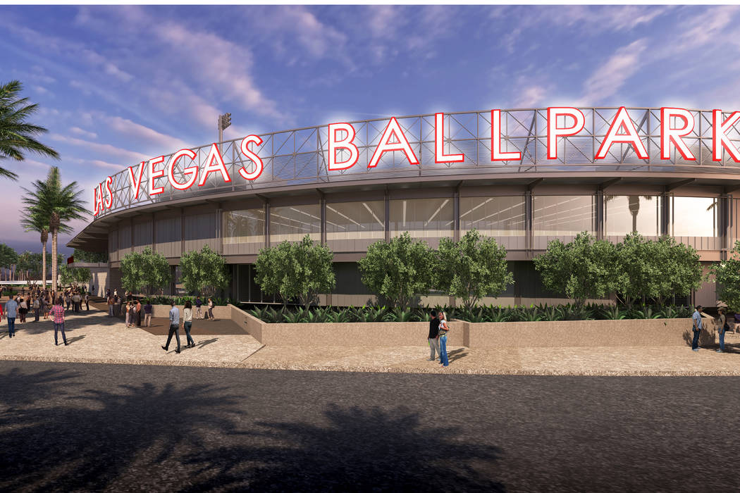 This is a rendering of the new Las Vegas Ballpark in Summerlin that is scheduled to be completed by March. (Howard Hughes Corp.)