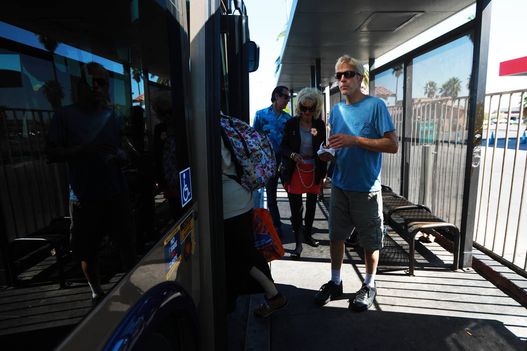 Michael John Perkins, 56, prepares to get in the bus at the bus stop near the intersection of Flamingo Road and Maryland Parkway in Las Vegas on Friday, May 4, 2018. Andrea Cornejo Las Vegas Revie ...