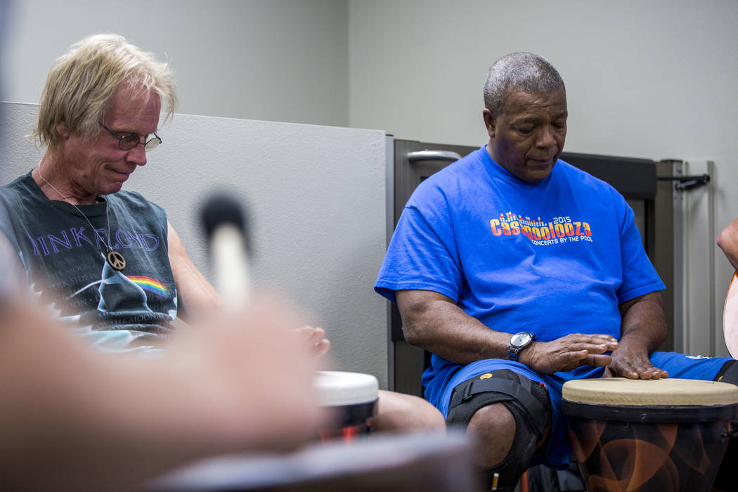 Recovering addicts John Pickard and Terrence V. in a music therapy session with Judith Pinkerton at the Resolutions Recovery center in Las Vegas on Tuesday, April 26, 2018. Patrick Connolly Las V ...