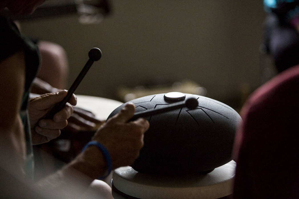 "John Pickard plays a ""Hapi Drum"" in a therapy session with Judith Pinkerton at the Resolutions Recovery center in Las Vegas on Tuesday, April 26, 2018. Patrick Connolly Las Vegas Review-Journal @ ..."