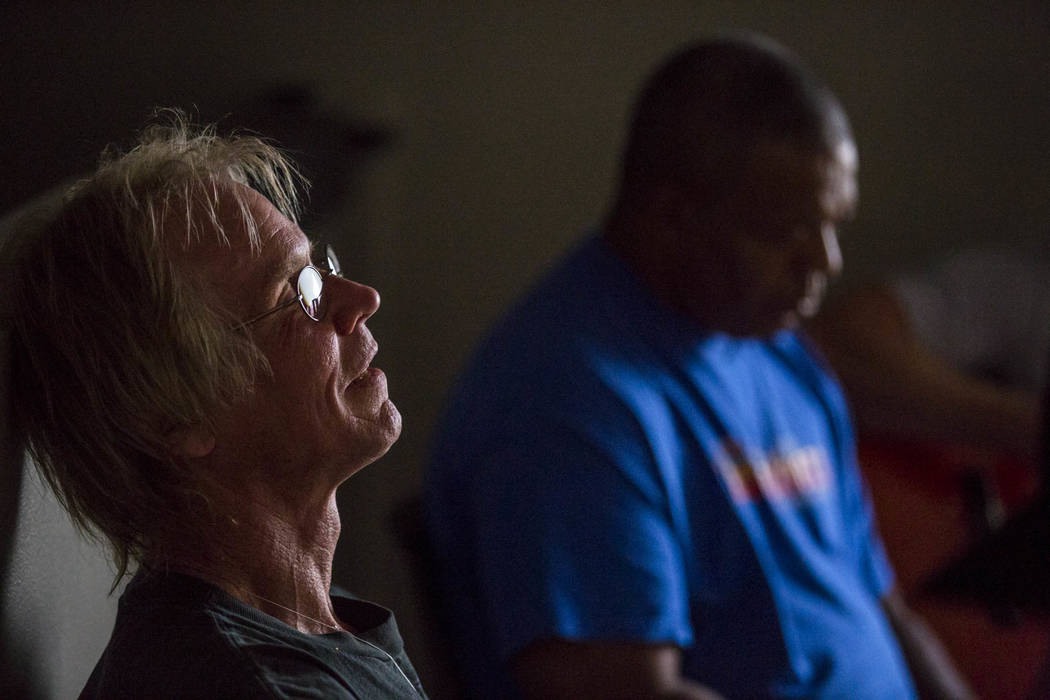 John Pickard reclines while listening in a music therapy session with Judith Pinkerton with other recovering addicts at the Resolutions Recovery center in Las Vegas on Tuesday, April 26, 2018. Pa ...
