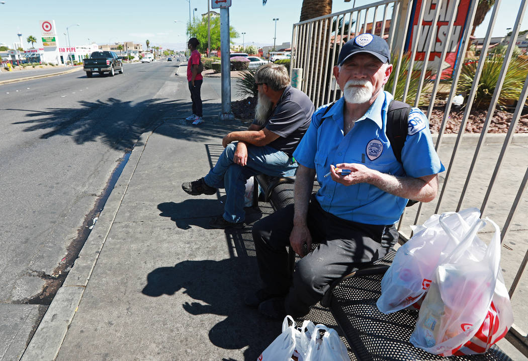 Jason Blackbird waits for the bus at the bus stop near the intersection of Flamingo Road and Maryland Parkway in Las Vegas on Friday, May 4, 2018. Andrea Cornejo Las Vegas Review-Journal @dreacornejo