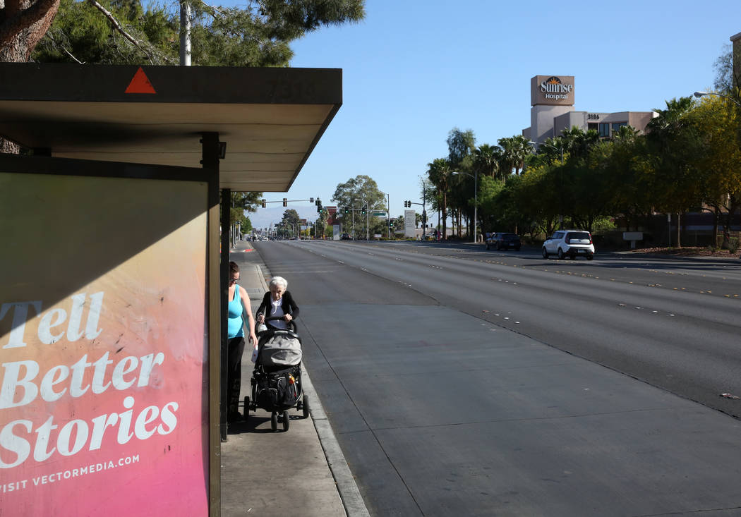 Street scene of N. Maryland Parkway near Sunrise Hospital on Thursday, May 3, 2018, in Las Vegas. A light rail will be built and operate connecting McCarran International Airport, the Strip and do ...