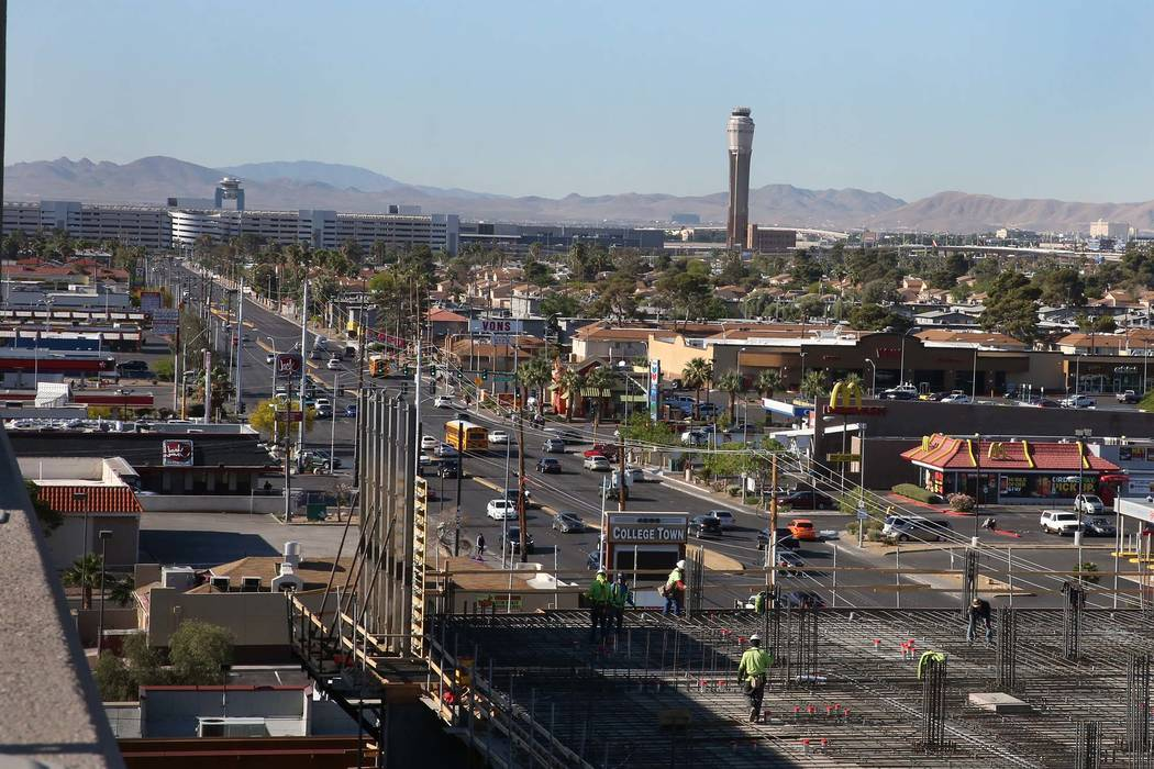 McCarran International Airport as seen from the roof of a parking garage on S. Maryland Parkway on Thursday, May 3, 2018, in Las Vegas. A light rail will be built and operate connecting McCarran I ...