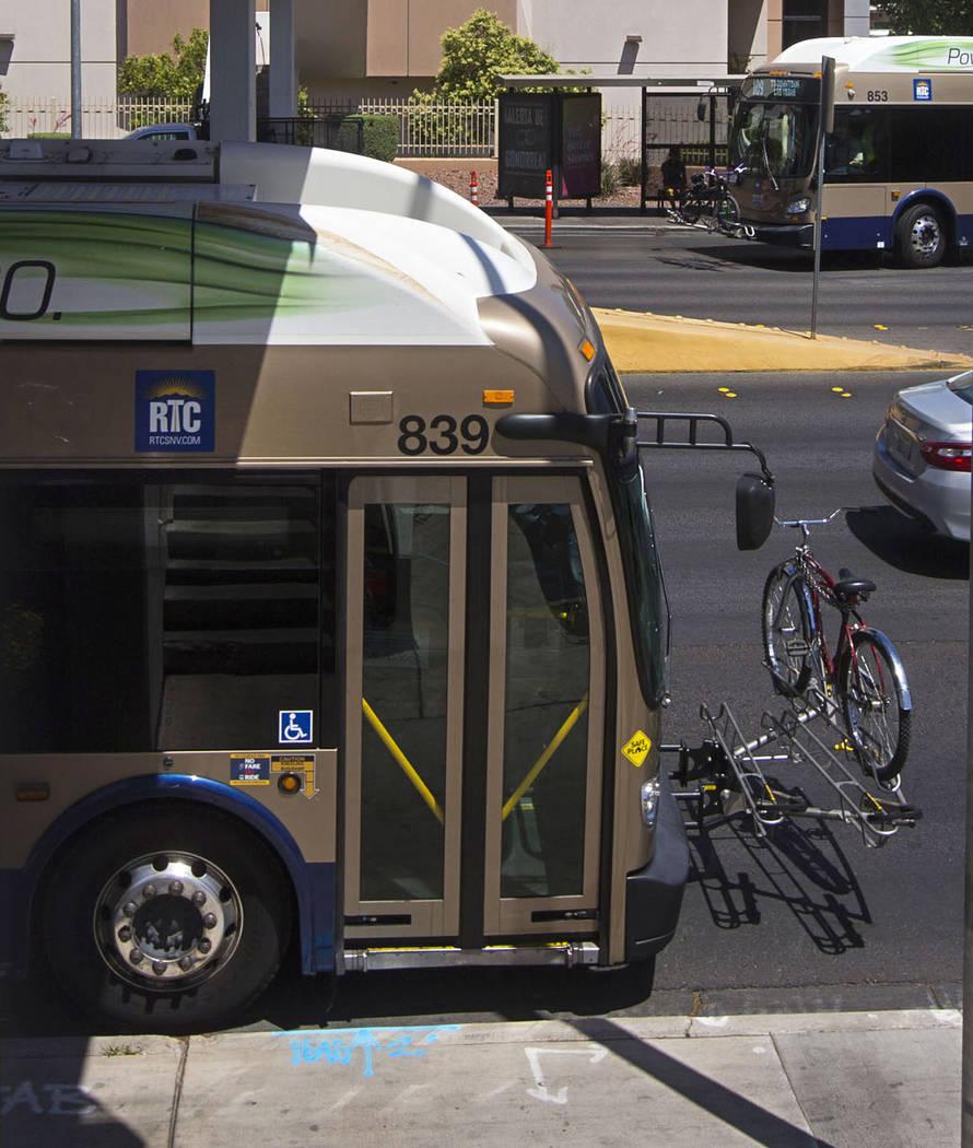 Buses make a stop along Maryland Parkway outside of Sunrise Hospital in Las Vegas on Wednesday, May 23, 2018. Chase Stevens Las Vegas Review-Journal @csstevensphoto