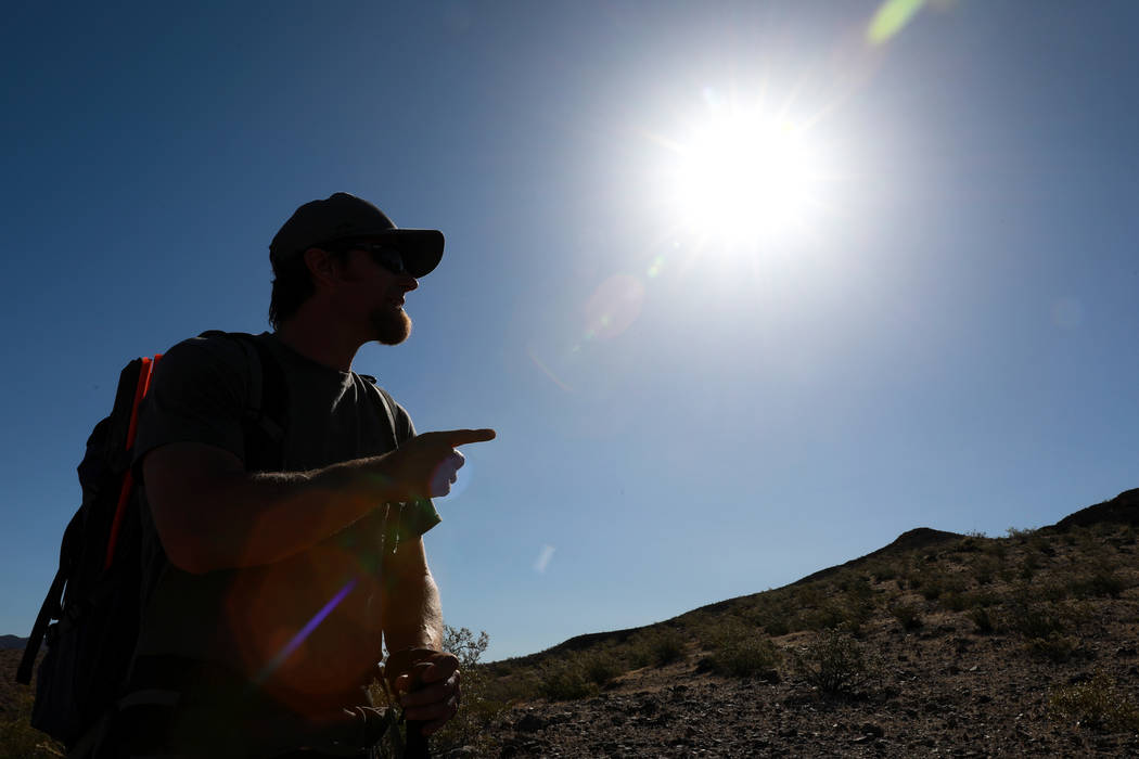 Joe Barnes, a biologist with the Nevada Department of Wildlife,looks for a nest with peregrine chicks on a ledge overlooking Lake Mead in Temple Bar, Ariz., on Wednesday, May 16, 2018. Barne ...
