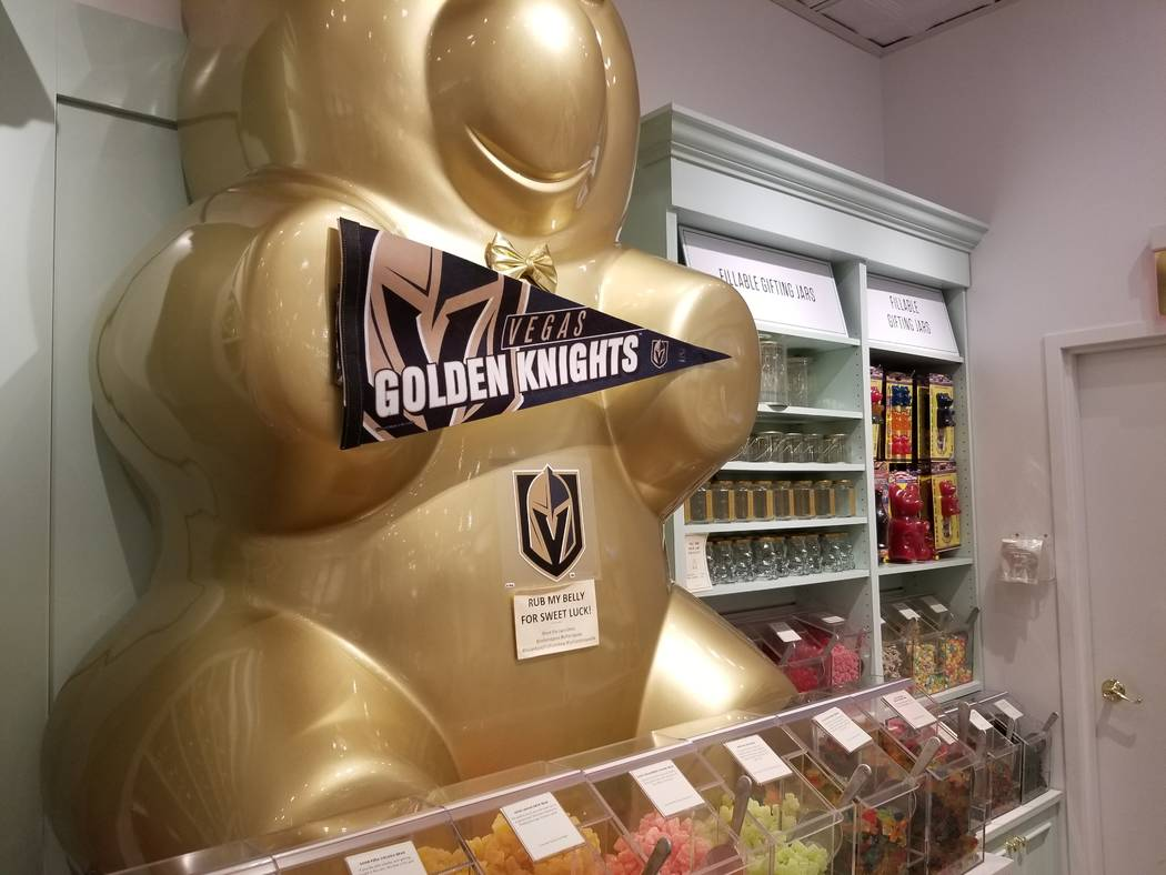 A nearly 5-foot golden bear statue sits above an assortment of candy Tuesday, May 29, 2018, at the Lolli & Pops candy store at the Fashion Show shopping center. Wade Tyler Millward Las Vegas Revie ...