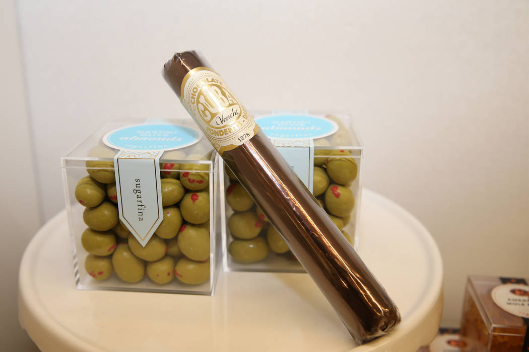 Chocolate olives and cigar at Sugarfina inside Fashion Show Mall in Las Vegas, Wednesday, May 23, 2018. Sugarfina opened its Las Vegas location in April. Erik Verduzco Las Vegas Review-Journal @Er ...