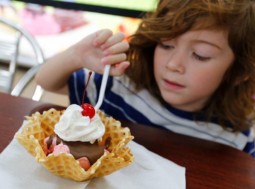 Dillon Smith, 4, of Las Vegas eats ice cream with a waffle cone at La Flor de Michoacan in Las Vegas, Saturday, Aug. 26, 2017. Chitose Suzuki Las Vegas Review-Journal @chitosephoto