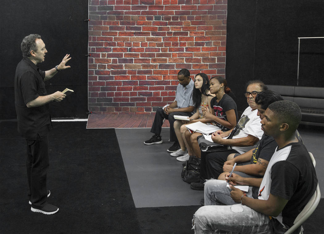 Acting coach Daryl Morris, left, gives direction to his students on Tuesday, May 29, 2018, at Indie Film Factory, in Las Vegas. Benjamin Hager Las Vegas Review-Journal @benjaminhphoto