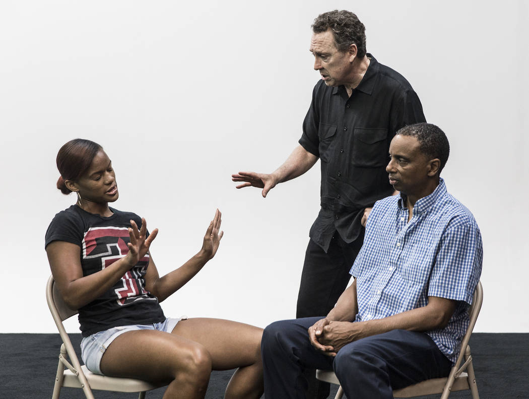 Acting coach Daryl Morris, second from left, gives direction to students Tori Leigh Smith and Lamont Witcher on Tuesday, May 29, 2018, at Indie Film Factory, in Las Vegas. Benjamin Hager Las Vegas ...