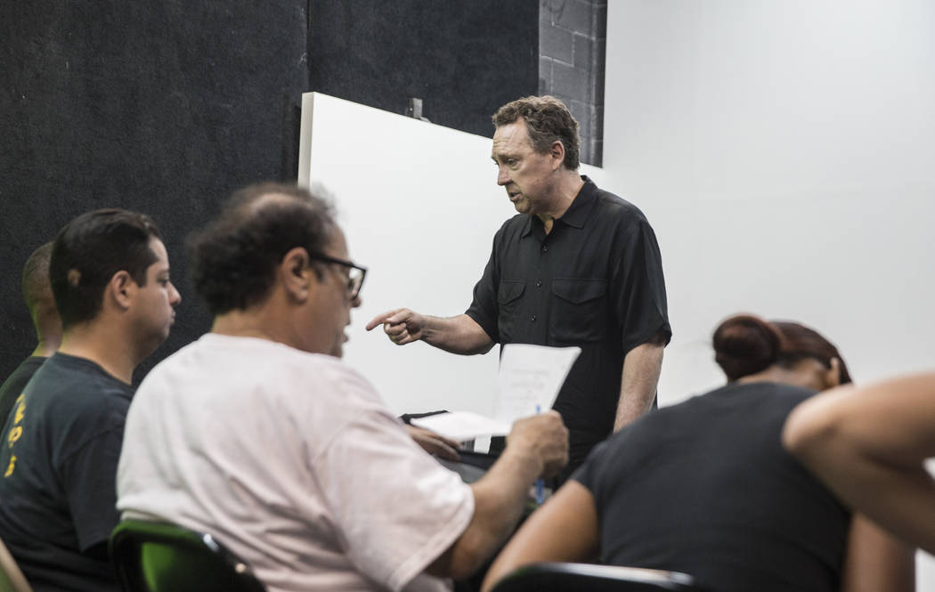 Acting coach Daryl Morris, middle, gives direction to his students on Tuesday, May 29, 2018, at Indie Film Factory, in Las Vegas. Benjamin Hager Las Vegas Review-Journal @benjaminhphoto