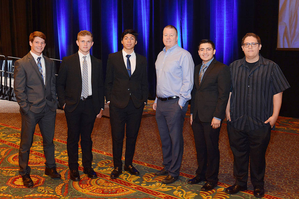 Pardee Homes Vice President of Land and Forward Planning Dan Hale, center, stands with the 2018 Pardee scholarship recipients, from left, Douglas Reese, Ryan Sinicki, Cesar Sigala-Salazar, Alejand ...