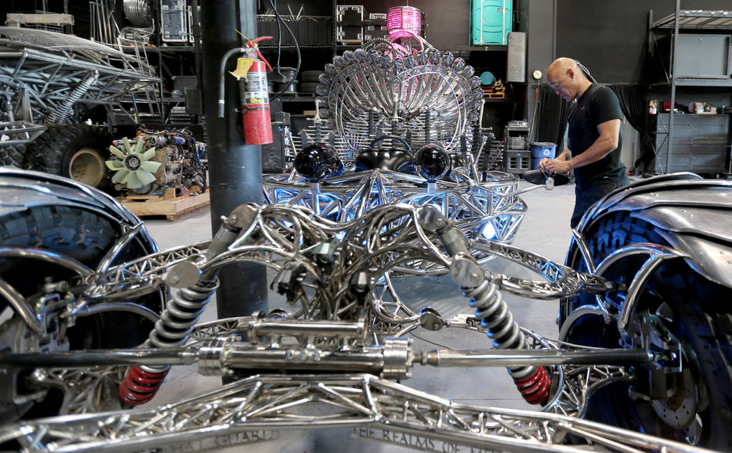 Artist Henry Chang works on his art car Valyrian Steel at his Las Vegas studio Wednesday, May 30, 2018, in preparation for the upcoming Intergalactic Art Car Festival on Saturday, June 9. The fest ...